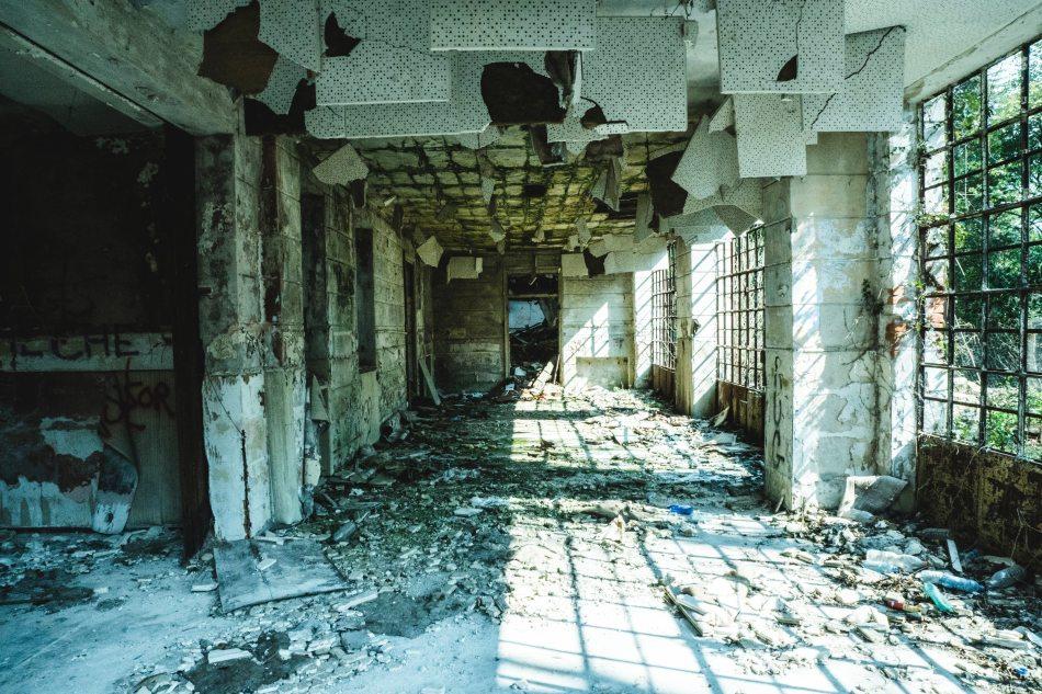 Hallway of an abandoned derelict building